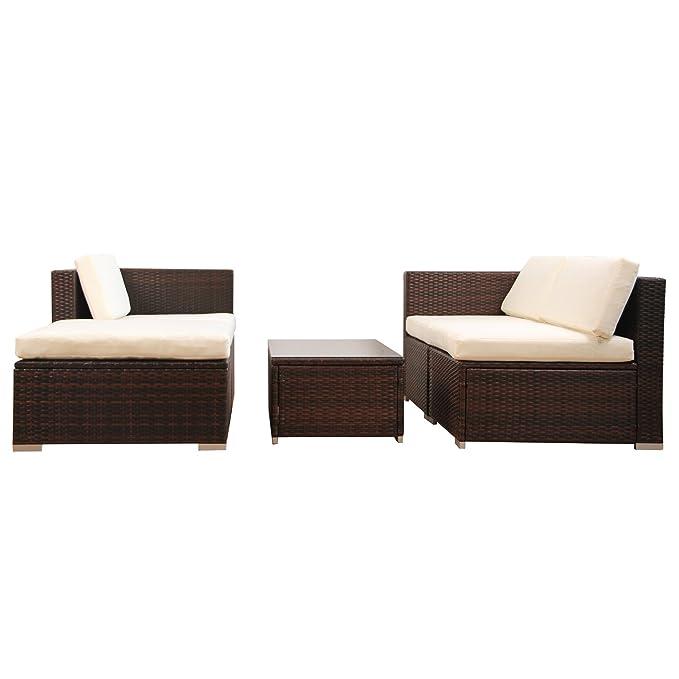 Amazon.de: (6034) POLY RATTAN Lounge Braun Gartenset Sofa Garnitur ...