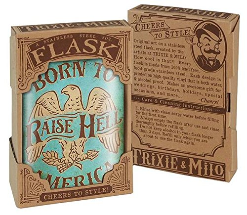 Born to Raise Hell Eagle America USA Patriotic Flask - 8oz Stainless Steel Flask - come in a GIFT BOX - by Trixie & Milo