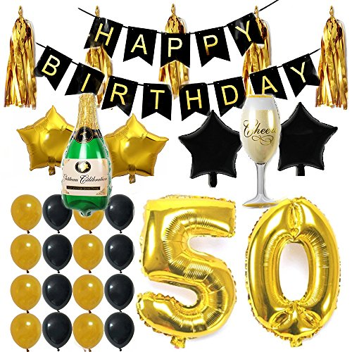 Ezing 50th B-Day Party Supplies Decorations Kit Pack , Happy Birthday Banner Latex & Star Foil Balloons (50th) ()