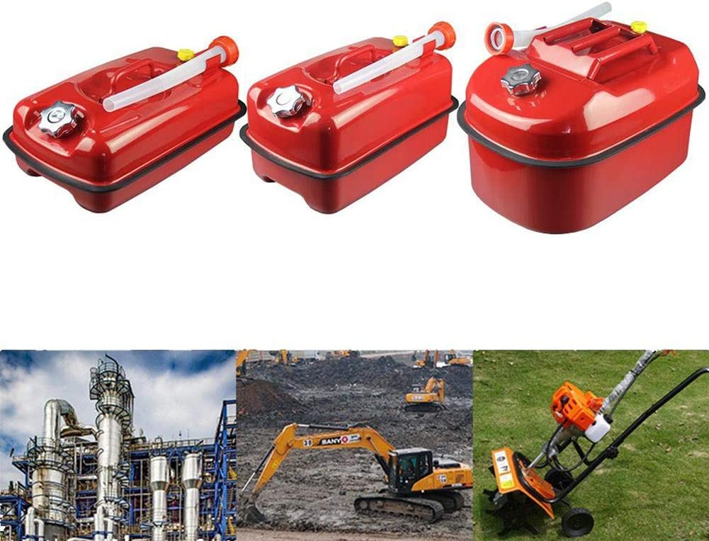 Thickened Lying Gasoline Can,5L//10L//20 Portable Fuel Can Diesel Pot Iron Fuel Tank Car Motorcycle Spare Storage Bucket