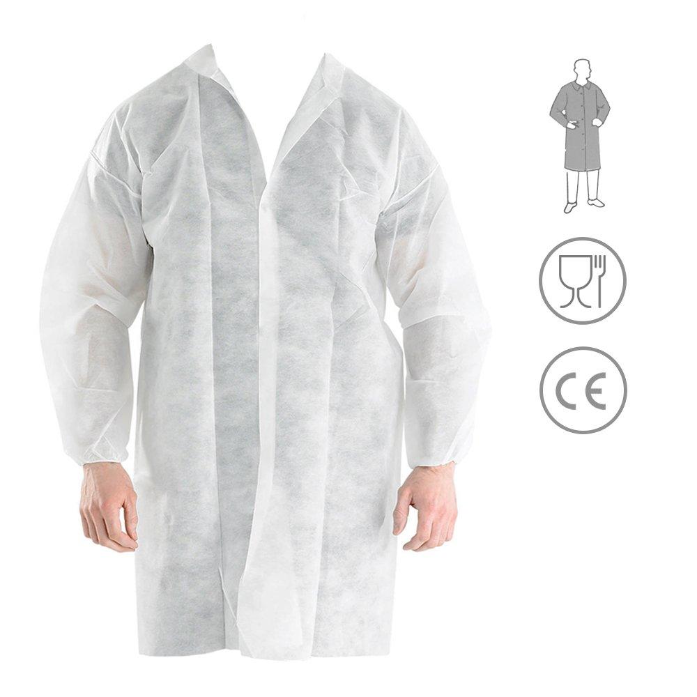 Bata Visita Desechable con Velcro - Material: Polipropileno - Color: Blanco - para Laboratorios, Industrias de Alimentació n, Trabajos de limpieza, Talleres o en Visitas a empresas (1) Industrias de Alimentación IB