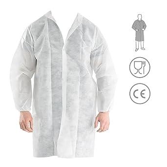 Bata Visita Desechable con Velcro - Material: Polipropileno - Color: Blanco - para Laboratorios