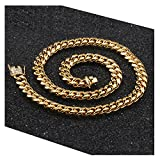 Miami Cuban Link Chain 9MM, 24K Real Solid Heavy Premium Gold Overlay Jewelry Pendant Necklace 24 inch