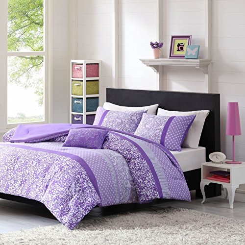 OSD 3pc Girls Purple White Floral Scroll Motif Comforter Twin XL Set, Lavender, Vibrant Pretty Daisy Striped Themed Pattern, Girly Horizontal Stripe Polka Dot Flower (Floral Scroll Stripe)