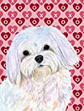 Caroline's Treasures SS4482CHF Maltese Hearts Love and Valentine's Day Portrait Flag Canvas, Large, Multicolor