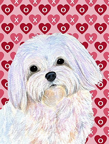 Caroline's Treasures SS4482GF Maltese Hearts Love and Valentine's Day Portrait Flag, Small, (Maltese Garden)