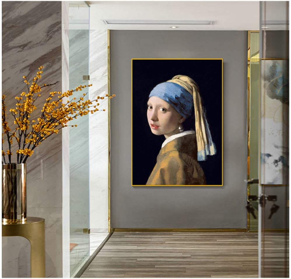 chthsx The Girl with A Pearl Earring by Art Pinturas sobre Lienzo Imprimir Retrato Arte de la Pared Carteles e Impresiones Cuadro clásico y Famoso del Arte -70x90cm Sin Marco