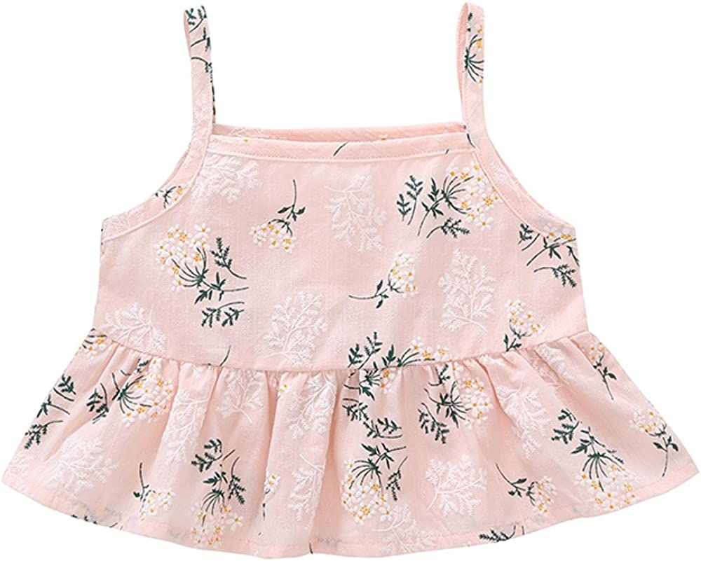 Lurryly 2Pcs Fashion Summer Baby Girls Cotton Printing Vest+Pant Lovely Sets 0-3 T