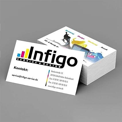 Infigo Individuelle Visitenkarten 85x55mm 4 4 Farbig Hochwertiger Offsetdruck 350g M Bilderdruck Mit Professioneller Gestaltung Und Beratung Nach