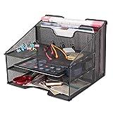 Samstar Mesh Desk File Organizer Letter Tray Holder, Desktop File Holder with 3 Paper Trays and 2 Vertical Upright Section, Black