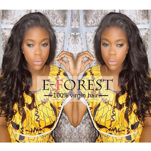 7A E-forest hair Full Lace Wig Virgin Brazilian Remy Human Hair Lace Wig Loose Wave Free Part 130% Density Baby Hair Bleached Knots(24