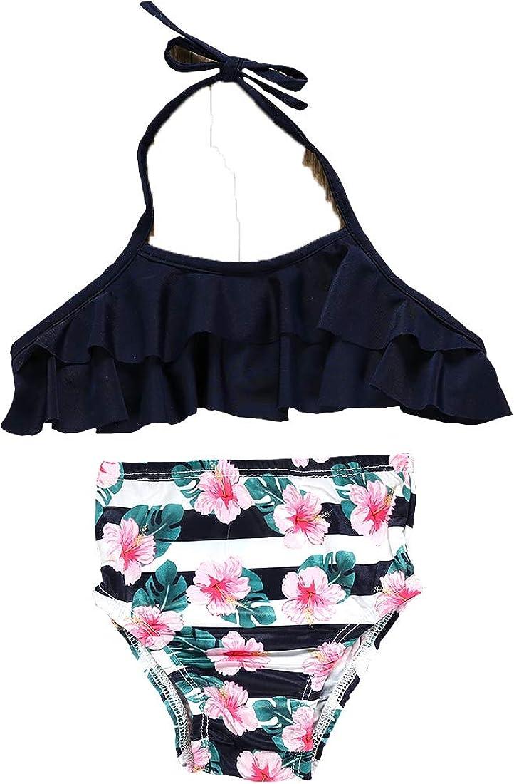 Toddler Baby Girls Bikini Set 2Pcs Swimwear Swimsuit Bathing Crop Top Shorts Pants