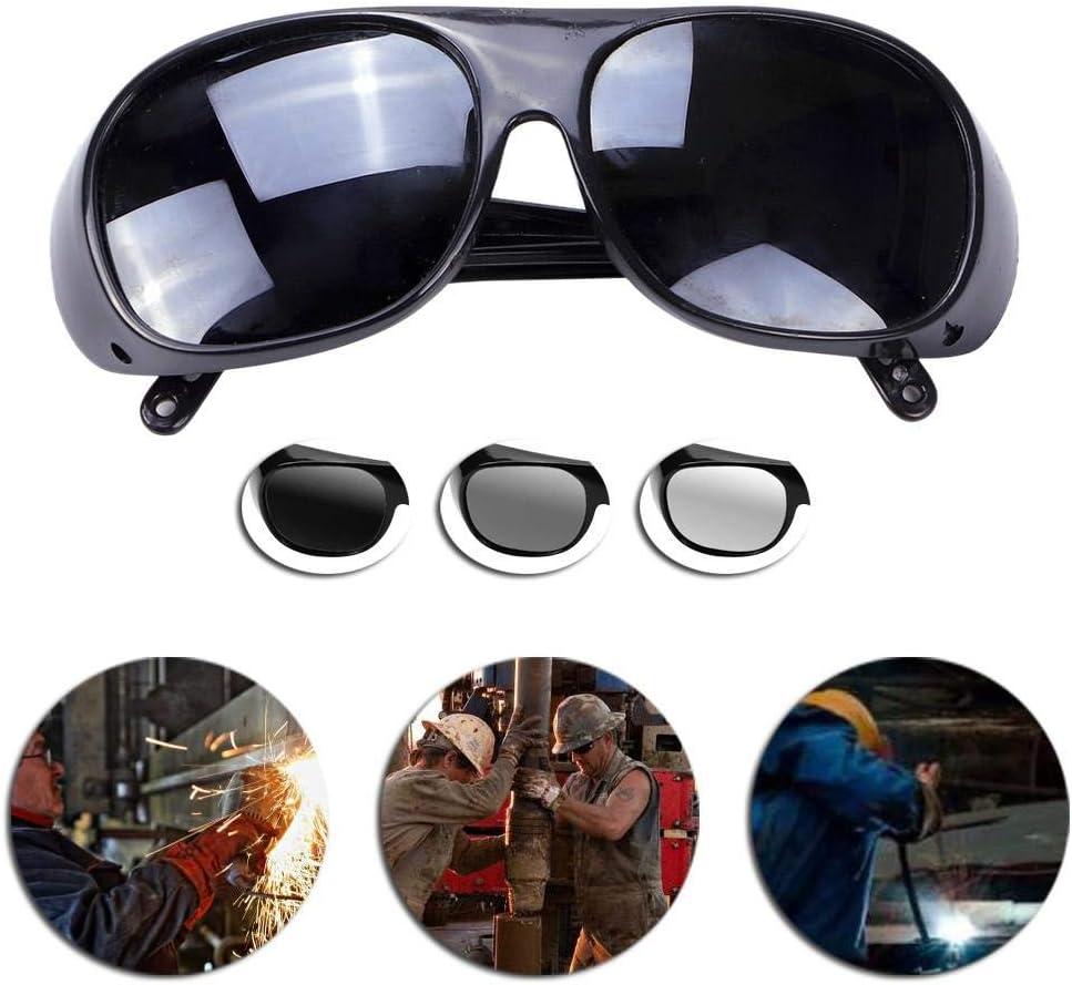 Teabelle Gafas Antideslumbrantes del Soldador para Trabajar Protección del Trabajo Soldadura Gafas de Sol Protectoras Anti-Impacto Ultravioleta-Prueba Negro