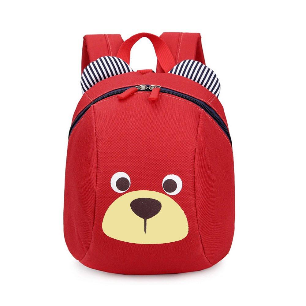 CUILEE Mini-Sac à Dos école Maternelle Enfant Bébé Filles Tout-Petit Sac Garçons Kindergarten Backpack Toddler avec Sangles de sécurité,Rouge