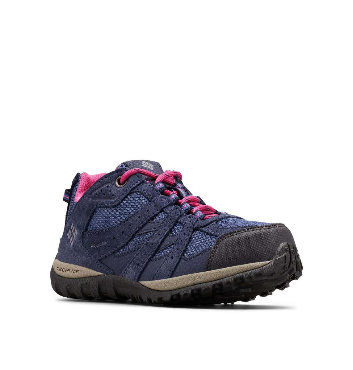 Columbia Unisex Youth Redmond Waterproof Hiking Shoe, Bluebell/Pink ice, 1 Regular US Little Kid