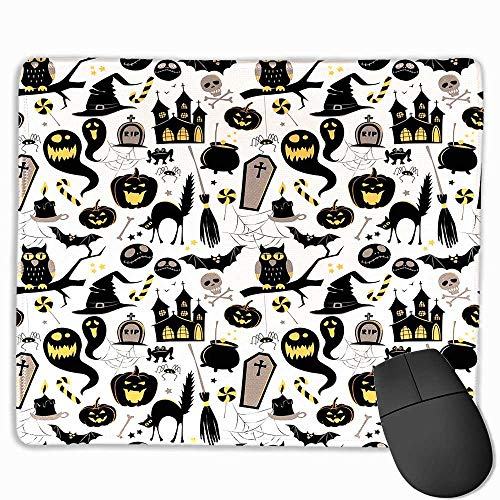 Vintage Halloween Funny Mouse pad Halloween Cartoon Jack o Lantern Tombstone Skulls and Bones Custom Mouse pad 11.8