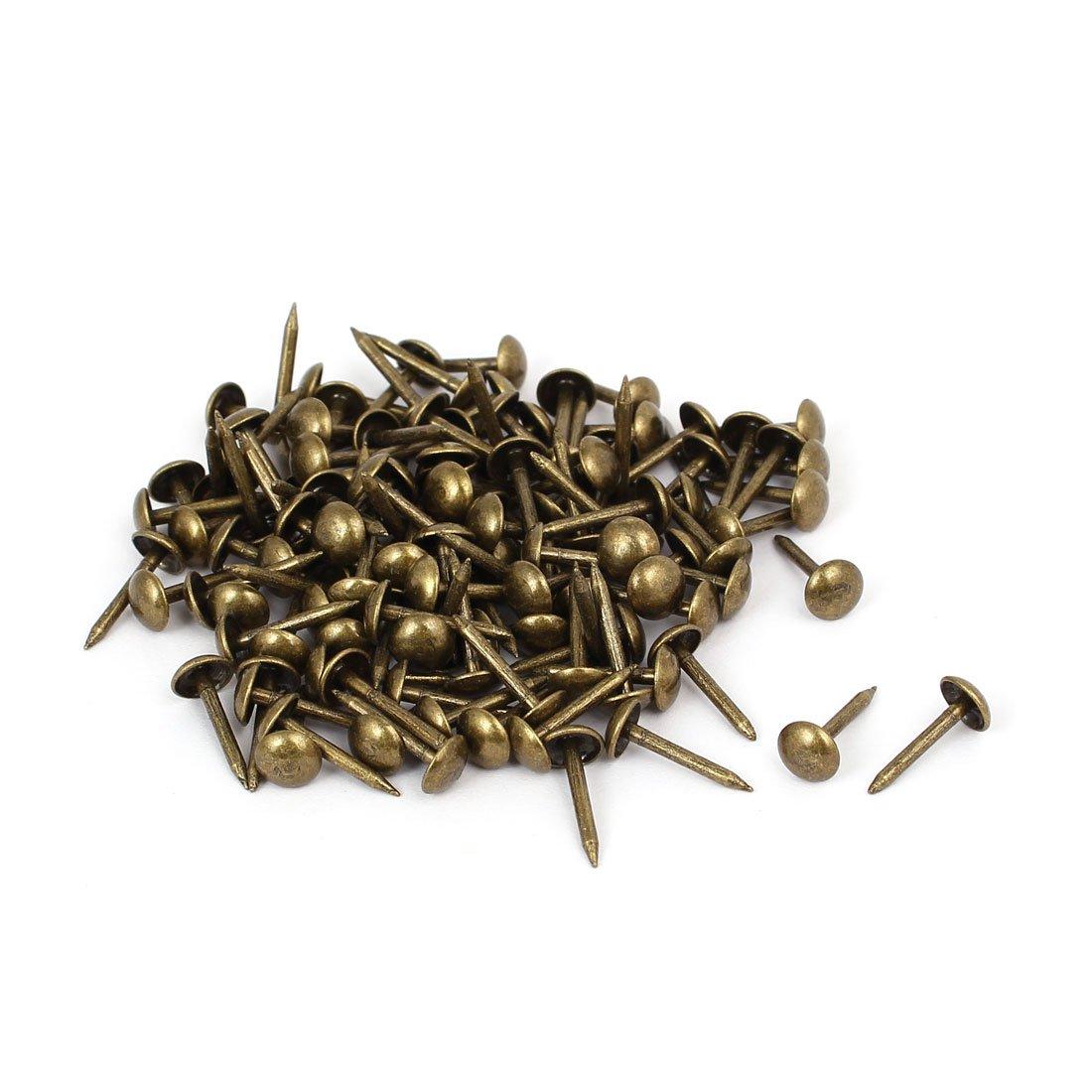 uxcell Home Furniture 6mm x 14mm Upholstery Thumb Tack Nail Push Pin Bronze Tone 120pcs