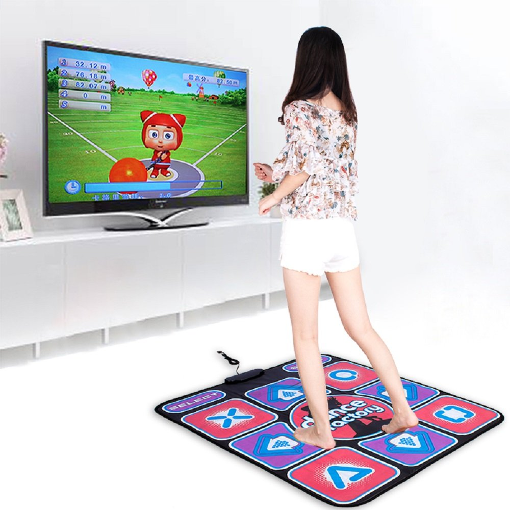 Puronic Non-slip Dance Mats Rhythm Beat Game Dancing Step Pads USB Lose Weight Pads Dancer Blanket USB Entertainment PC Laptop (Pattern 1, 8 mm thick)