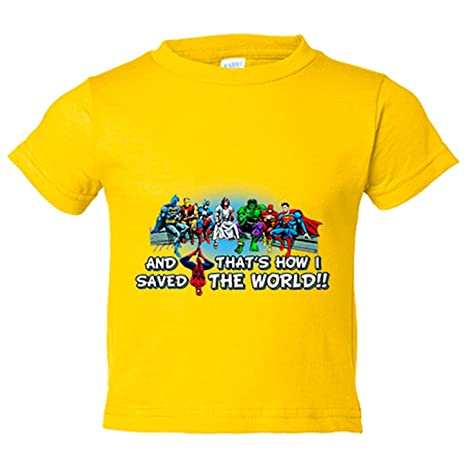 Camiseta niño Superhéroes Spiderman And That Is How I Saved The World - Amarillo, 3