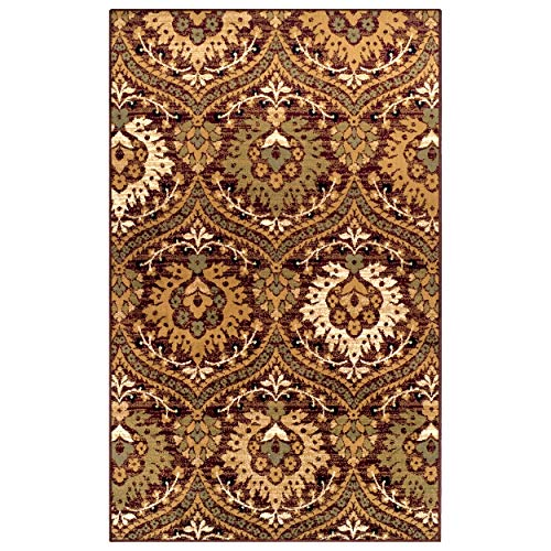 Superior Designer Augusta Collection Area Rug, 8mm Pile Height with Jute Backing, Beautiful Floral Scalloped Pattern, Anti-Static, Water-Repellent Rugs - Red, 8 x 10 Rug
