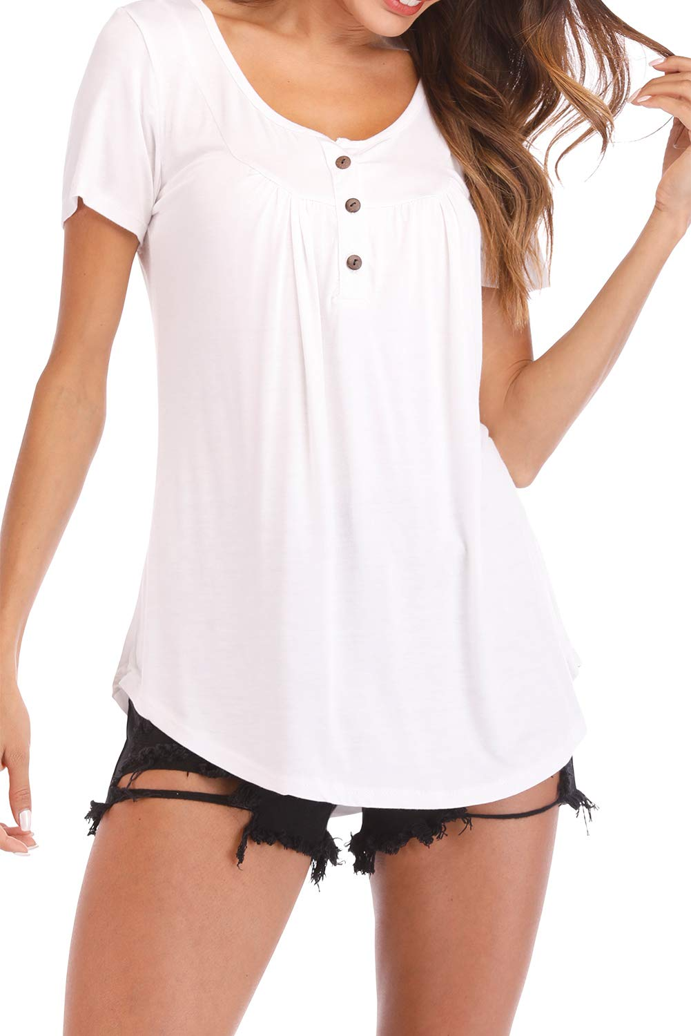 Fantastic Zone Womens Tops and Blouses Short Sleeve Tunics Plus Size Summer Shirts White XXL by Fantastic Zone (Image #2)