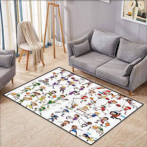 Pet Rug,Sports Decor Collection,Kids Playing Various Sports Illustration Cheerleader Boys Girls Children Picture,Anti-Static, Water-Repellent Rugs,3'3