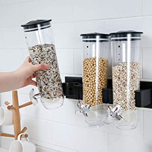 Dry Food Dispenser Container Wall Mount Cereal Dispenser Candy Wall Mount Dispenser for Oatmeal Candy Granola Nuts Beans (Triple)