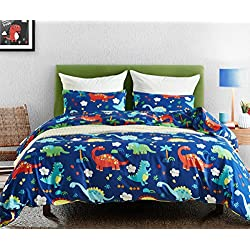 Macohome Dinosaur Kids Duvet Cover Set Twin Size Boys Cartoon Soft Microfiber Bedding Set with 2 Envelope Pillowcases (Dinosaur, Twin)