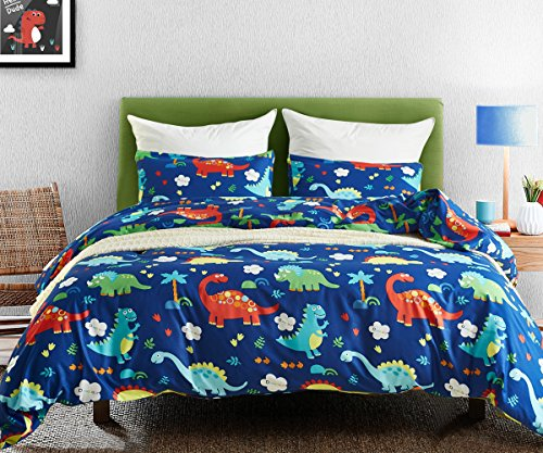 Macohome Dinosaur Kids Duvet Cover Set Queen Size Boys Cartoon Soft Microfiber Bedding Set with 2 Envelope Pillowcases (Dinosaur, Queen)