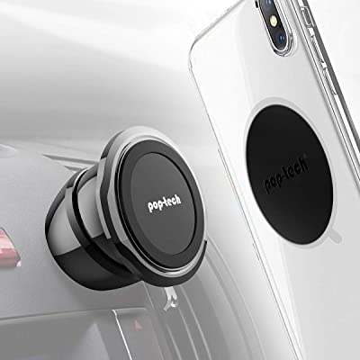 Universal Magnetic Phone Mount, Pop-Tech Stick-On Dashboard Magnetic Car Mount All-Metal Car Dash Cell Phone Mount Holder with Super Sticky 3M Adhesive for iPhone X XS 11 Pro Samsung S20 S10 Plus Etc [5Bkhe0113921]