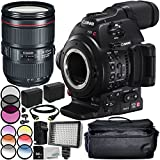 Canon EOS C100 Mark II Cinema EOS Camera with EF 24-105mm f/4L IS II USM Lens 12PC Accessory Bundle – Includes 3PC Filter Kit (UV + CPL + FLD) + MORE - International Version (No Warranty)