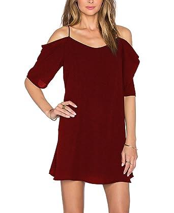 ZJCTUO Damen V-Ausschnitt Chiffonkleid Party Sommerkleid Festliches Kleid A-Linie  Kalte Schulter: Amazon.de: Bekleidung