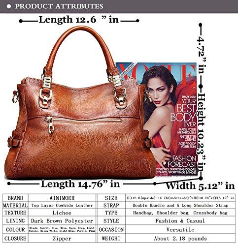 Shoulder Large Vintage Sorrel Tote Top Womens Ladies' handle Genuine Handbags Crossbody AINIMOER Bag Capacity Leather Purse WgTXAW4