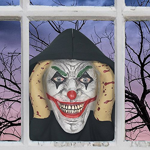 Scary Peeper Evil Clown It Inspired Look Halloween Prop Spooky Holiday Decoration True To Life Pennywise Evil Jester That Peers In Your Window To Frighten Trick Or (Halloween Spooky Stuff)