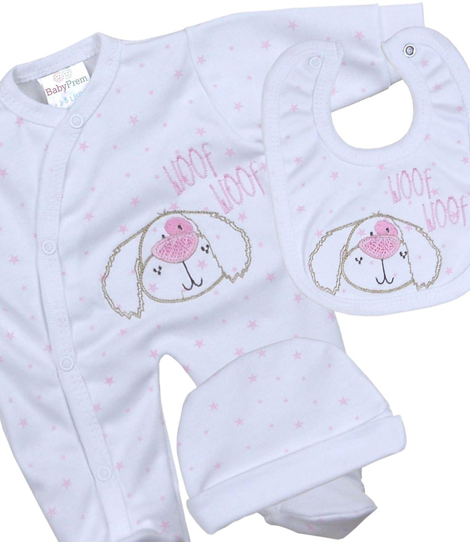 BabyPrem Premature Baby Gift Set Sleepsuit Bib Hat Puppy Dog Clothes 1.5-5.5lb BEE025