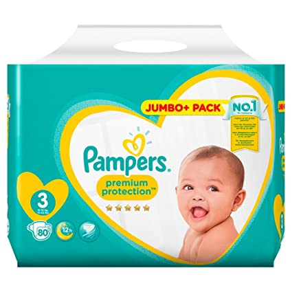 PAMPERS Premium Protection tamaño 3, 80 Jumbo Pack