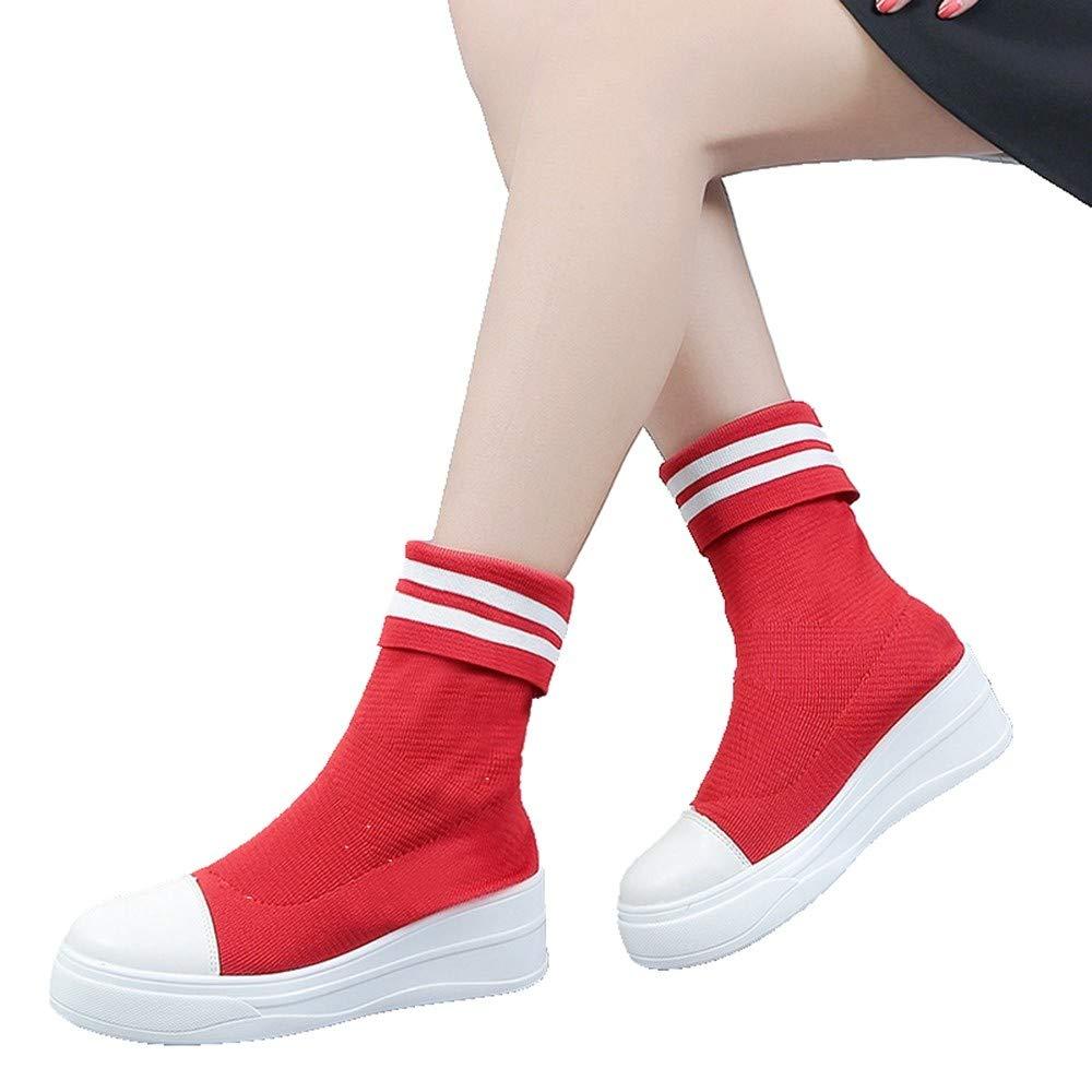 DAMENGXIANG Nouveau Printemps Automne Sock sur Sneakers Respirant Femme Glisser sur Sock Le Tissage De L'Élasticité Au Tube Central À Fond Épais Chaussures Chaussettes 39|couleur de l'image 603c6a