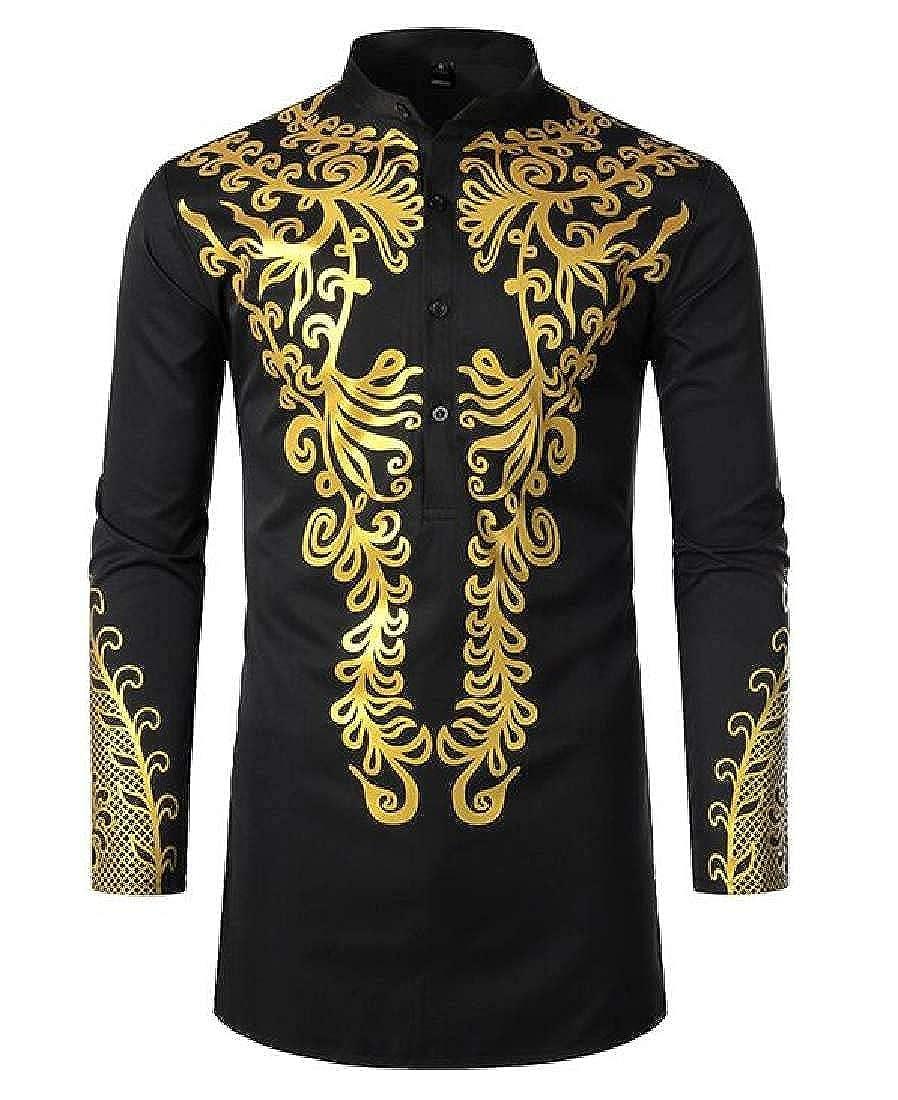 KLJR Men Classic Long Sleeve Dashiki African Print Stand Collar Shirts