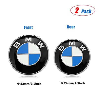 OSIRCAT Emblem for BMW- Replacement Hood or Trunk Emblem Logo Front 82mm Rear 74mm For BMW E30 E36 E34 E60 E65 E38 X3 X5 X6 3-Series 5-Series 6-Series 7-Series: Automotive