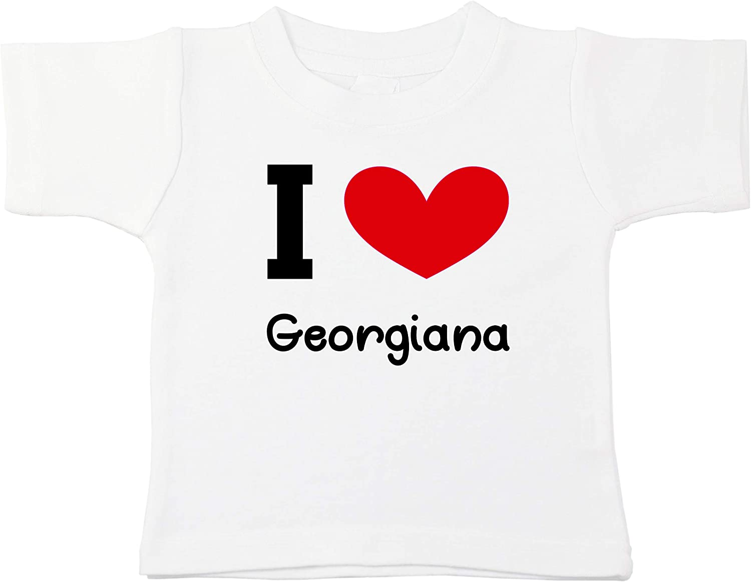 Kinacle I Love Georgiana Personalized Baby//Toddler T-Shirt