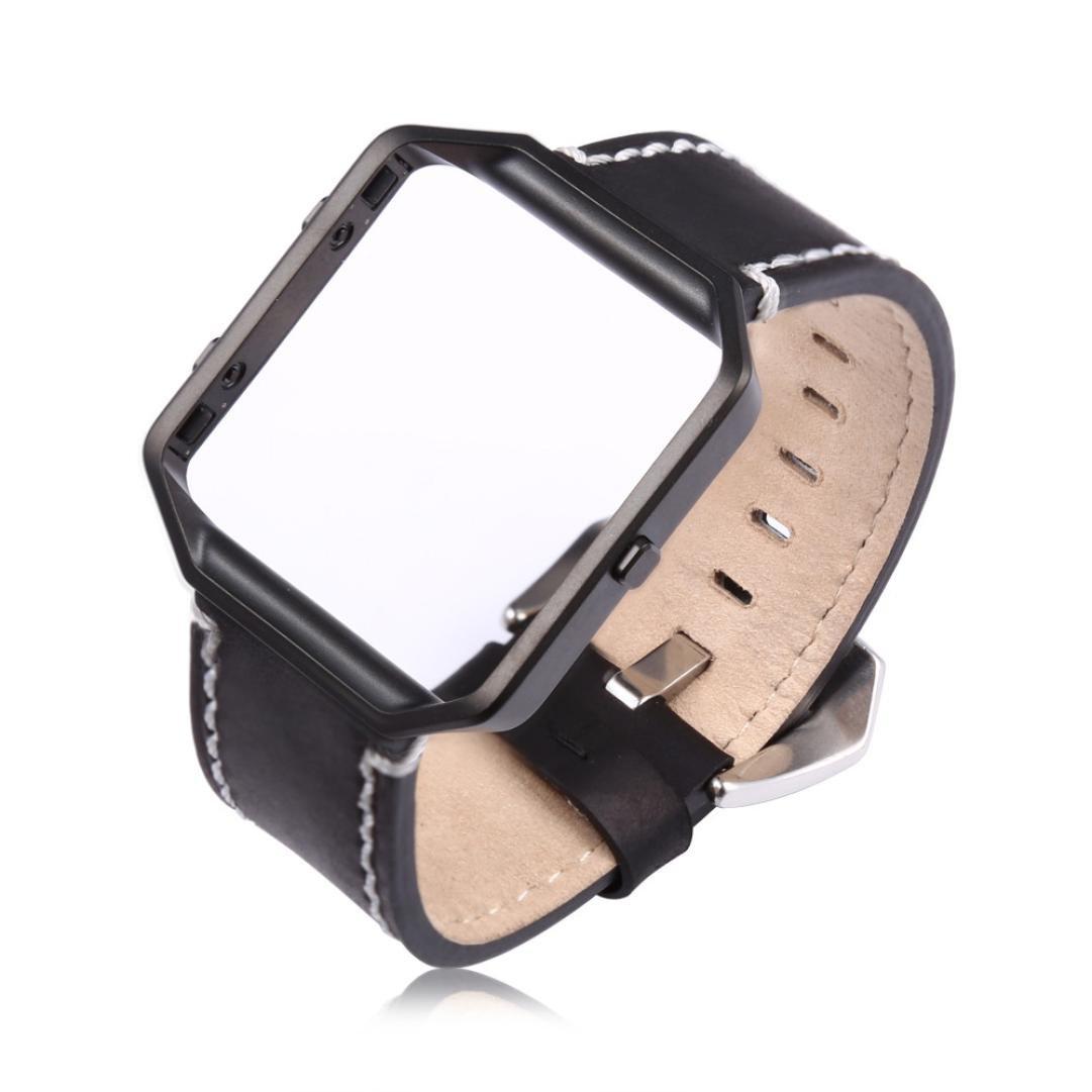 For Fitbit Blazeスマート時計、DiGood時計バンパーフレームケース+レザー時計バンド手首ストラップ B075TRVRNF ブラック