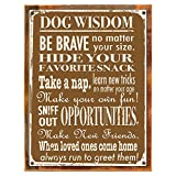 Cheap Wood-Framed Dog Wisdom Metal Sign, Humorous Casual Den, Bar, Gameroom, Kennel Decor on reclaimed, rustic wood