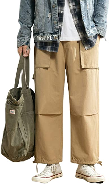 Pantalones Casuales Holgados Para Hombre Con Cintura Elastica Con Cordon 2 Bolsillos Laterales Pantalones Anchos De Gran Tamano De Color Solido Amazon Es Ropa Y Accesorios