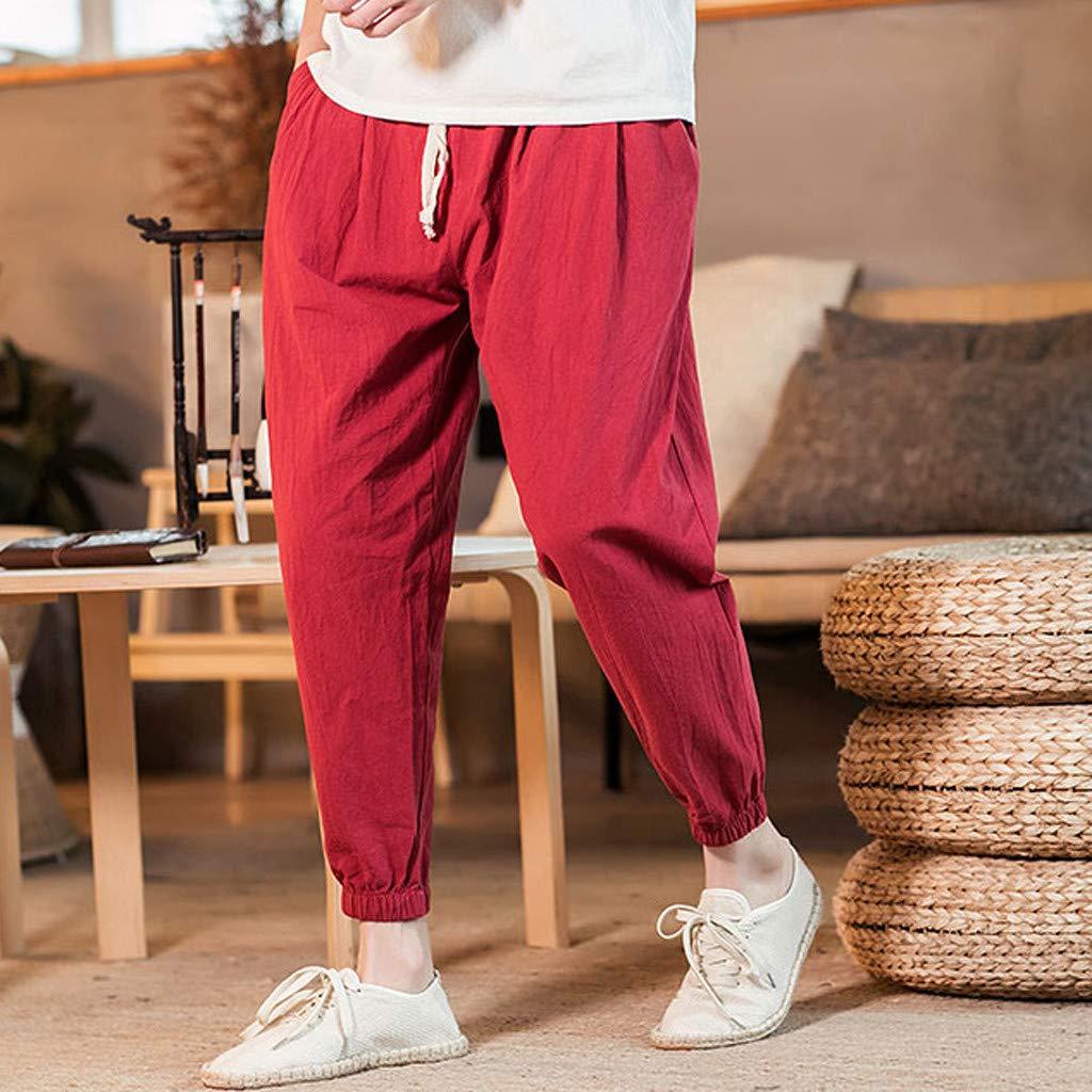 Pantalon Confortable Longueur Cheville Hommes Casual Vintage en Vrac Lin Coton Couleur Pure Pants Type A