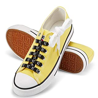 JENN ARDOR Women's Canvas Shoes Casual Sneakers Low Top Lace Up Fashion Comfortable Walking Flats (6, Yellow)