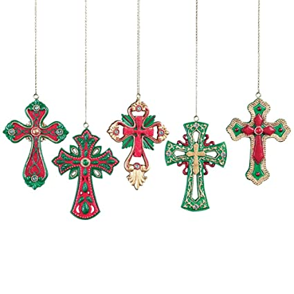 Collections Etc Colorful Cross Christmas Tree Ornaments Set of 5 - Amazon.com: Collections Etc Colorful Cross Christmas Tree Ornaments