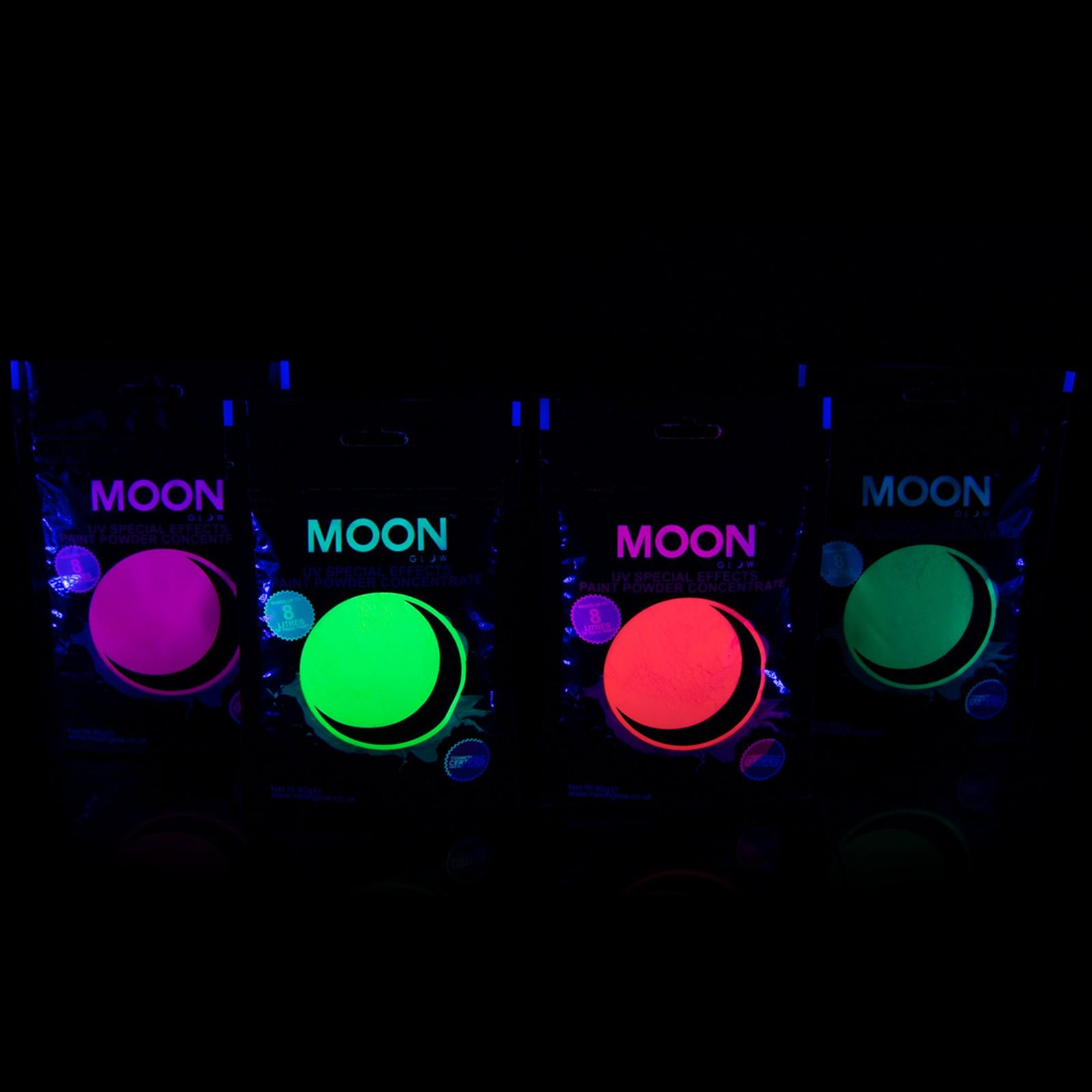 Moon Glow - 2.8oz Blacklight Paint Powder Set of 4 - Neon Special Effects Paint Party Powder Concentrate - Makes up to 8.4 US Gal! by Moon Glow (Image #2)