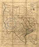 1841 Republic of Texas Detailed Land Ownership Map Vintage Decor - Various Sizes Reprint