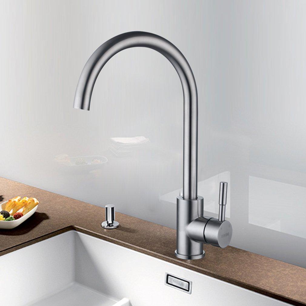 KINSE 360° Drehbar Niederdruck Wasserhahn Küche Armatur Edelstahl Einhandmischer Küchenarmatur Waschbeckenarmatur Spültischarmatur Mischbatterie für Küche Asummer-ME