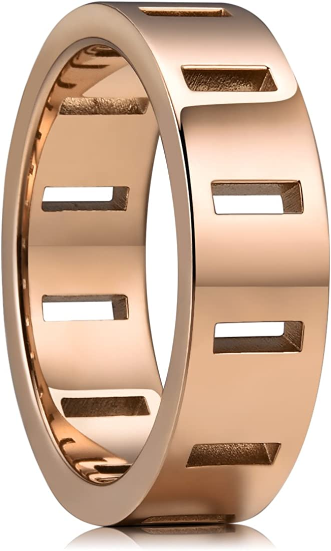 King Will TIME 6mm/8mm 316 Stainless Steel Wedding Band Ring with 12 Rectangle Hollow Rose Gold/Silver Tone